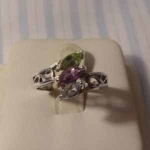 Jewelry - Blue Purple Green Sterling Silver Ring Size 7